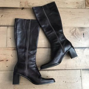Gianni Bini Leather Heeled Boots Brown Knee HIgh